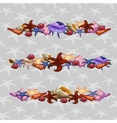 Creatures of sea clams Three horizontal sets vector