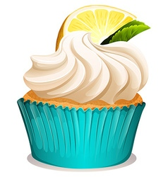 Cupcake with cream and lemon vector