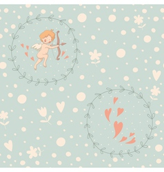 cupid wreath seamless pattern vector image
