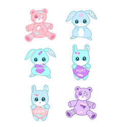 cute suffering animals in yami kawaii style vector image