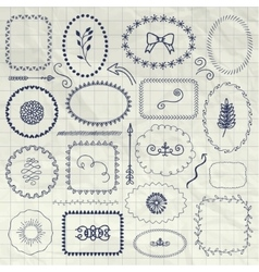 Decorative Pen Drawing Borders Frames vector image