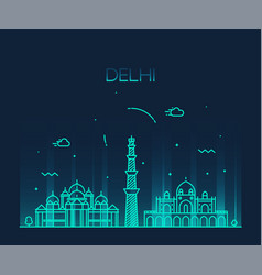 delhi skyline india linear style city vector image