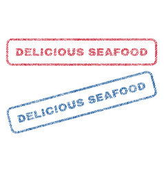 Delicious seafood textile stamps vector
