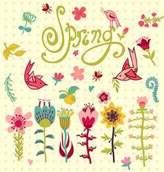 Doodle set spring flowers with lettering vector