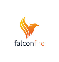 eagle with fire flame logo design vector image