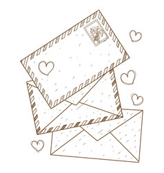 Envelopes and letters outline drawing for vector