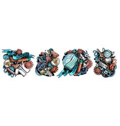 epidemic cartoon doodle designs set vector image