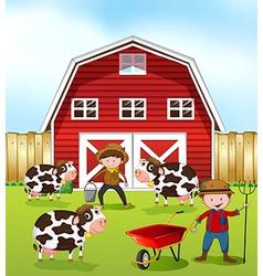 Farmer and barn vector image