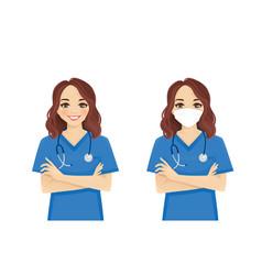 Female nurse character vector