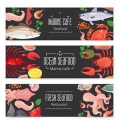 fresh seafood 3 banners set vector image