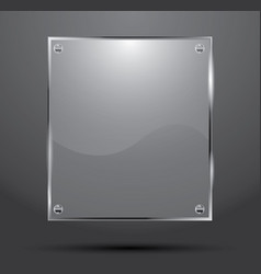 Glass plate isolated on dark background vector