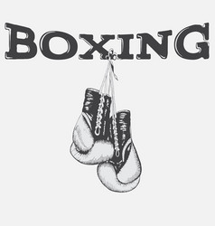 Graphic label with boxing gloves vector