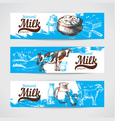 hand drawn sketch milk products banner set vintage vector image