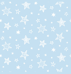 hand drawn stars doodles seamless pattern vector image