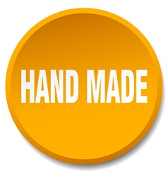hand made orange round flat isolated push button vector image