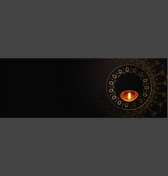 Happy diwali black color banner with text space vector