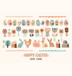 happy easter set cute vector image