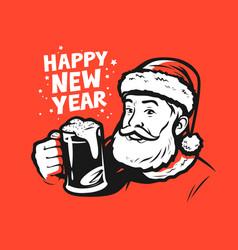 happy new year santa claus pop art style vector image
