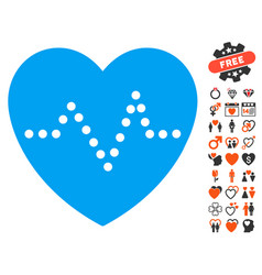 Heart pulse icon with lovely bonus vector