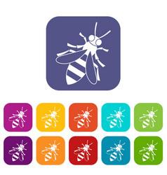 Honey bee icons set vector