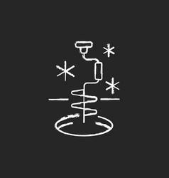 Ice fishing chalk white icon on black background vector
