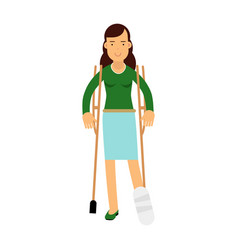 injured young brunette woman with leg in plaster vector image