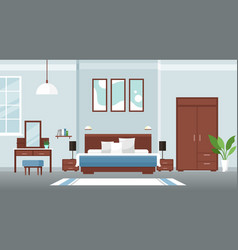 interior bedroom colorful flat design concept vector image
