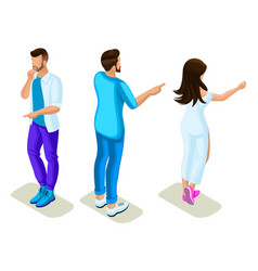isometrics young people generation z rear view vector image