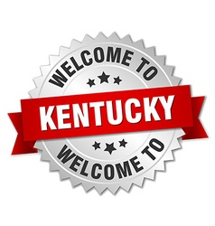 Kentucky 3d silver badge with red ribbon vector