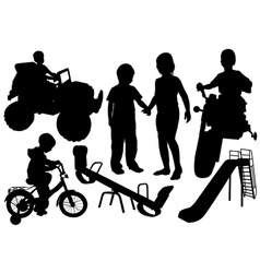 Kids playground silhouette vector image
