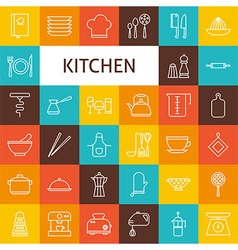 Line Art Kitchenware and Cooking Utensils Icons vector image