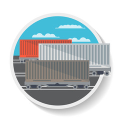 logistics icon with commercial railway wagon vector image