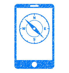 Mobile compass grunge icon vector