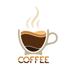 Morning cup of coffee for waking up logo or vector
