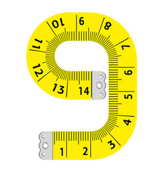number nine ruler icon cartoon style vector image