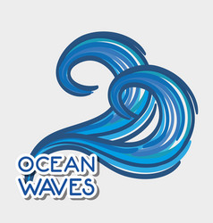 Oean waves with cute shapes design vector