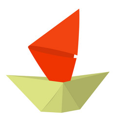 Origami ship icon cartoon style vector