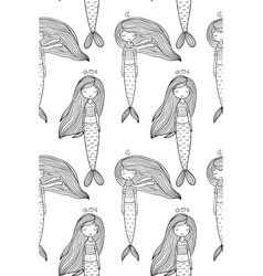Pattern with cute little mermaid siren sea theme vector