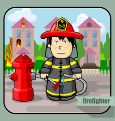 person profession firefighter vector image