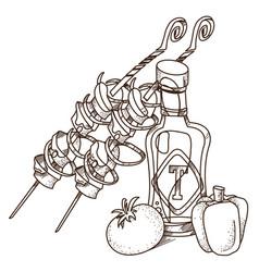 picnic logo shish kebab and ketchup for coloring vector image
