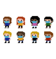 pixel people wearing a face mask vector image