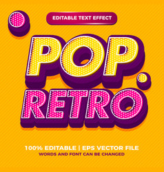 Pop style art editable text effect style for old vector