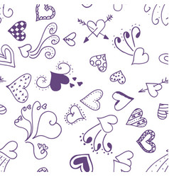 seamless pattern background with cute hearts vector image