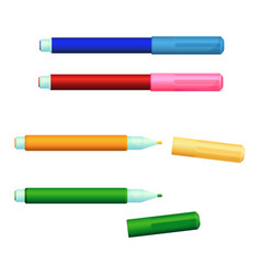 set color markers fineliner felt-tip pens vector image
