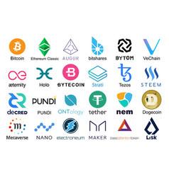 set logos popular cryptocurrencies vector image