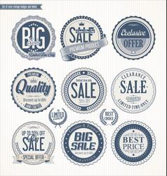 Set retro vintage blue labels and badges vector