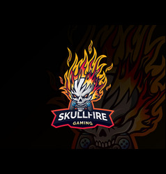skull fire logo design vector image