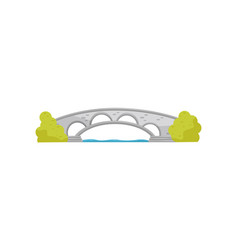 small stone arch bridge and green bushes walkway vector image