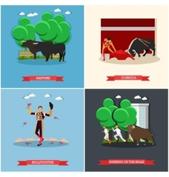 Spain Corrida Running of the Bulls concept vector