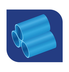Stacked blue pvc pipes logo isometric view vector